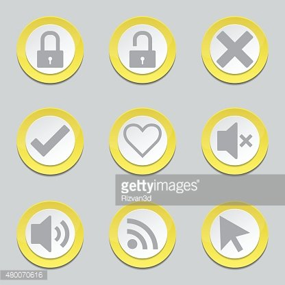 SEO Internet Sign Yellow Vector Button Icon Design Set 4