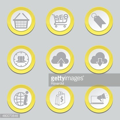 SEO Internet Sign Yellow Vector Button Icon Design Set 7