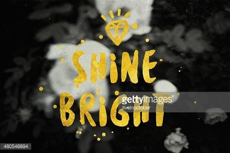 'Shine Bright' typography poster in black and gold colors.
