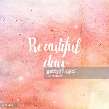 'Beautiful Day' typography poster in pink and yellow colors.