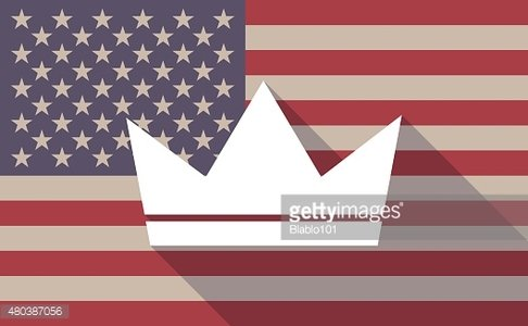 Long shadow USA flag icon with a crown
