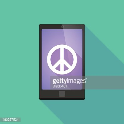 Long shadow phone icon with a peace sign