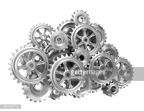Gear cloud on white isolated background