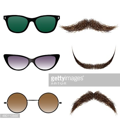 Vector set of glasses and mustaches