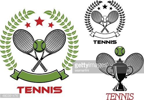 Tennis tournament emblems with sport items