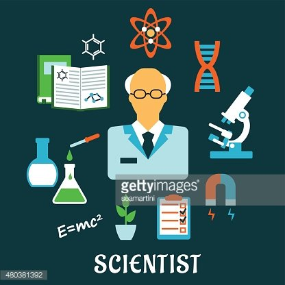 Scientist with research and science flat icons