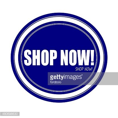 SHOP NOW white stamp text on blue