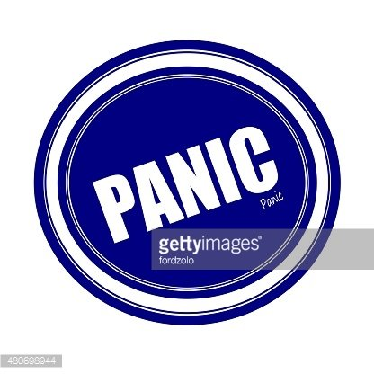 PANIC white stamp text on blue