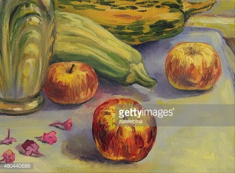 Still life with apples, zucchini. Oil painting