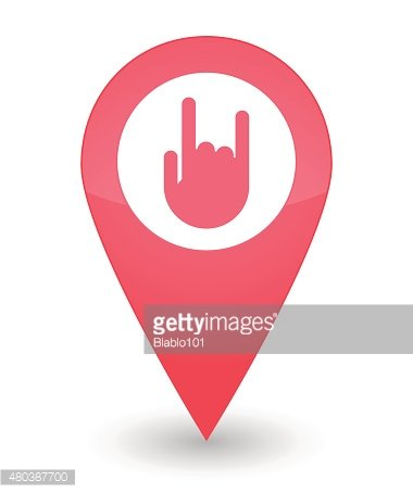 Map mark with a hand icon