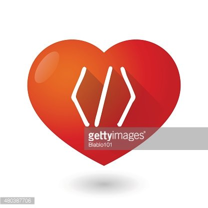 Heart icon with a code sign