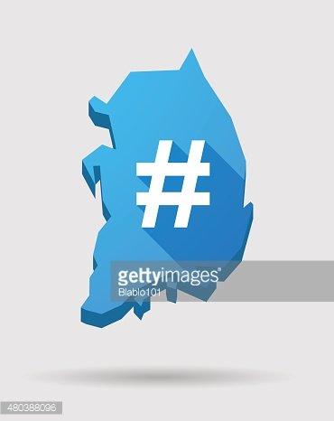 Blue South Korea map with a hash tag sign