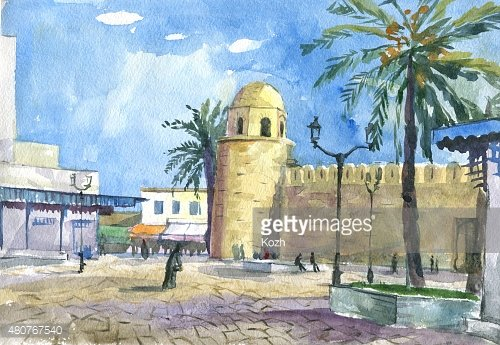 streets arab city watercolor painting