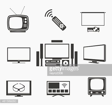 Retro TV flat screen, home theater and smart icons