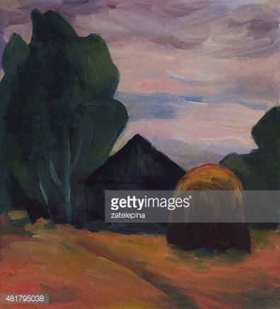 Summer Evening Landscape With House and Haystack and Oil