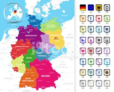 Map Of Germany 3d.Political Map Of Germany With A 3d Pin Pointers Premium Clipart