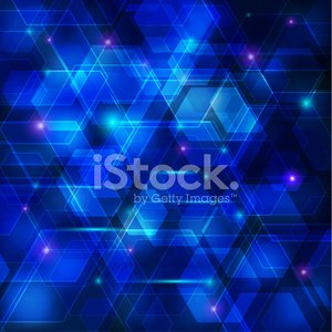 Blue abstract techno background with hexagons and glowing sparks