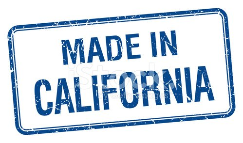 made in California blue square isolated stamp
