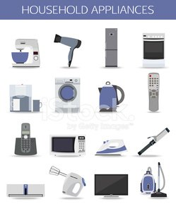 Set of household appliances and electronic devices isolated icons