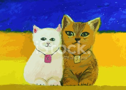 Cute Cat Painting On Colorful Background Premium Clipart