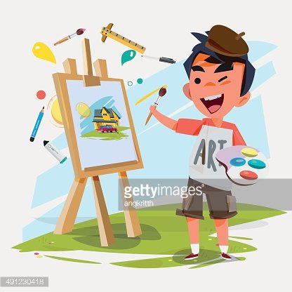 artist boy painting on canvas.- vector illustration