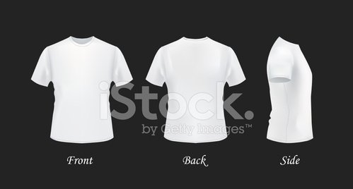 White T Shirt Template Set Front Back And Side Views