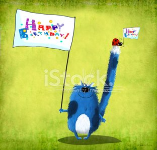 Happy Birthday Card Cat And Ladybug With Flags