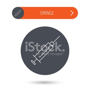 Syringe icon. Injection or vaccine instrument.