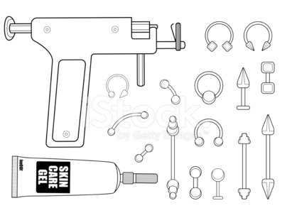Set Of Body Piercing Instruments Contour Clipart Image