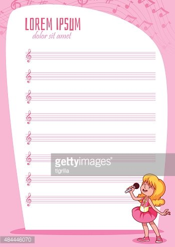 blank stave for kids with singing girl