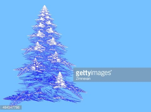 Abstract fractal Christmas tree with copy space