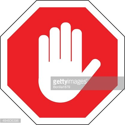 Stop Red Octagonal Stop Hand Sign For Prohibited Activities Premium