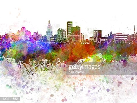 Providence skyline in watercolor background