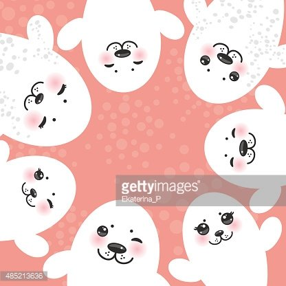 Image of: Cute Animal Funny White Fur Seal Pups Winking Kawaii Animals Pink Background Clipartlogocom Funny White Fur Seal Pups Winking Kawaii Animals Pink Premium
