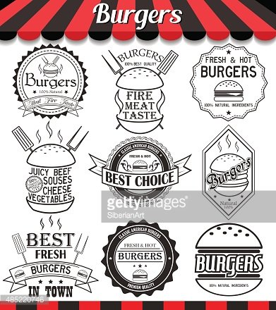 Vector set of burgers labels, stickers,logos and logotypes