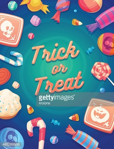 Set of colorful halloween sweets and candies icons