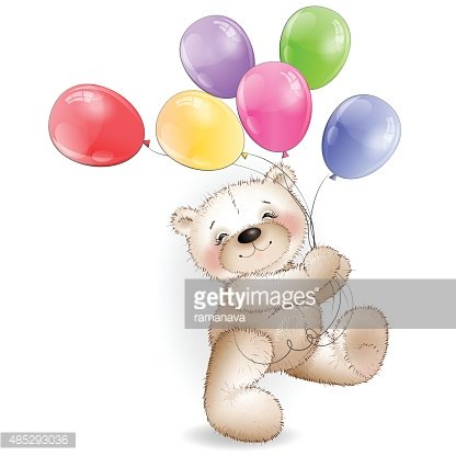 Funny Teddy Bear Comes With Colored Balloons Premium Clipart
