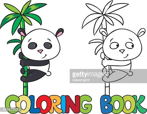 Coloring Book Of Little Panda On Bamboo Clipart Image