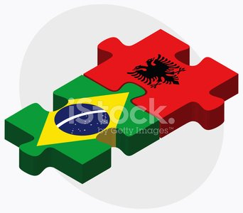 Brazil and Albania Flags