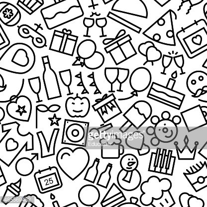 Celebration and Party Seamless Outline Icon Pattern