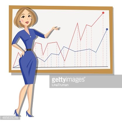 Business woman with chart background. Cartoon Illustration.