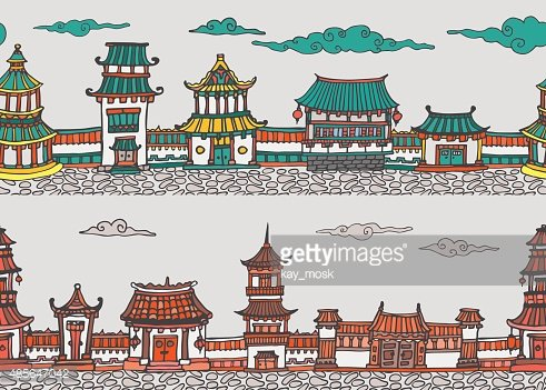 Two vector seamless panorama of chinese or japanese old town