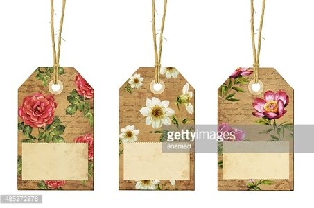 Set Of Vintage Tags With Flowers Clipart Image