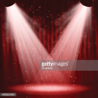 Empty stage with lights on red background