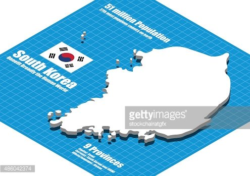 South Korea Map Vector Three Dimensional Premium Clipart - South korea map vector