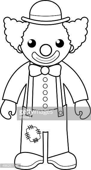 Clown Coloring Page For Kids Clipart Image