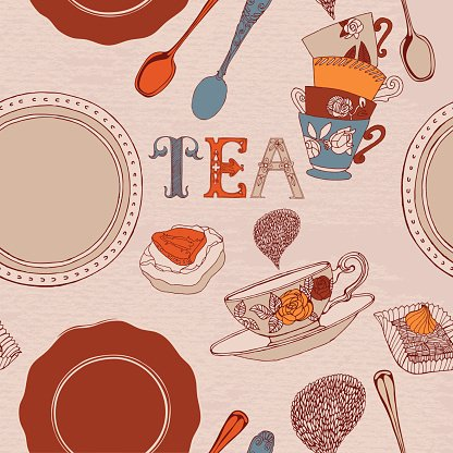 Card with tea and cakes. Seamless pattern.