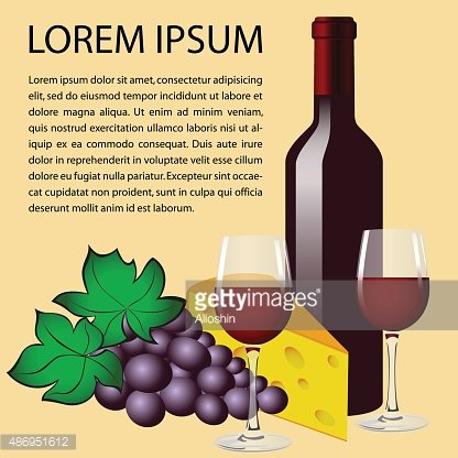 Bottle of red wine, two glasses, grape and cheese.