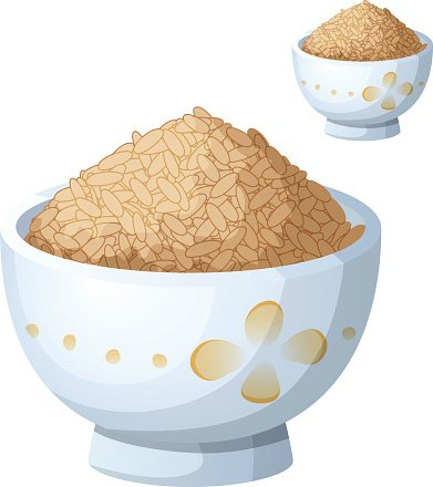 Bowl of brown rice isolated on white background. Detailed Vector