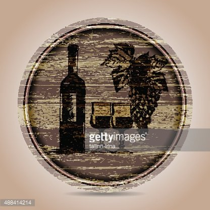 round banner bottle of red wine, glasses and grapes.hand drawn